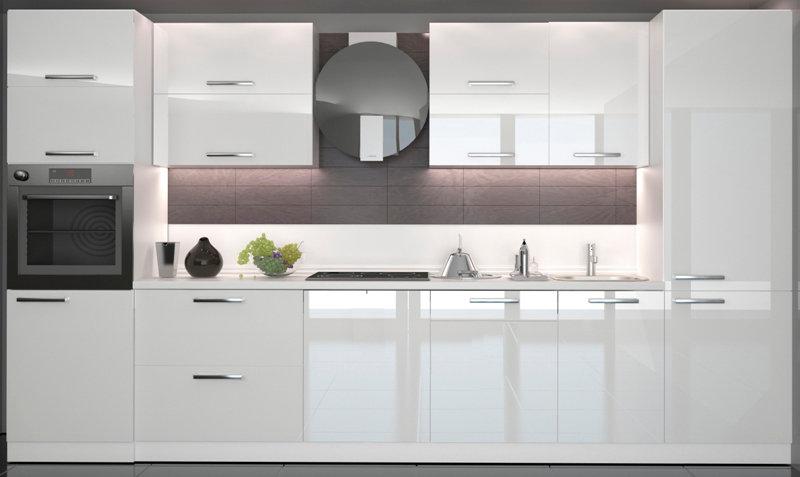 Küche Hochglanz weiß,beige ohne Geräte