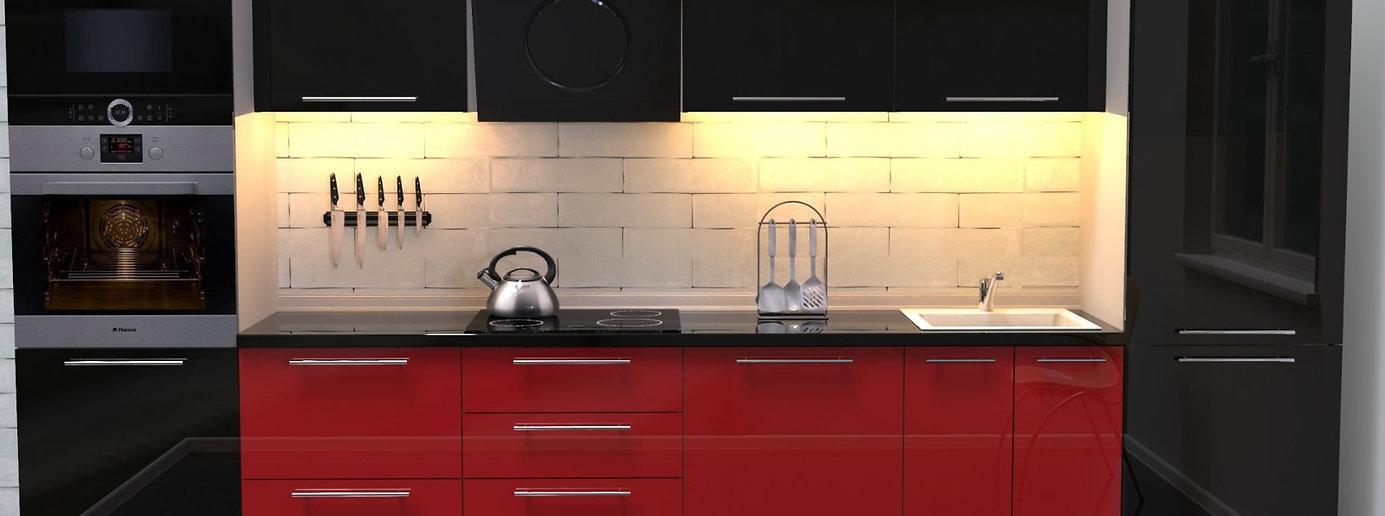 Küche Hochglanz schwarz-rot ohne Geräte