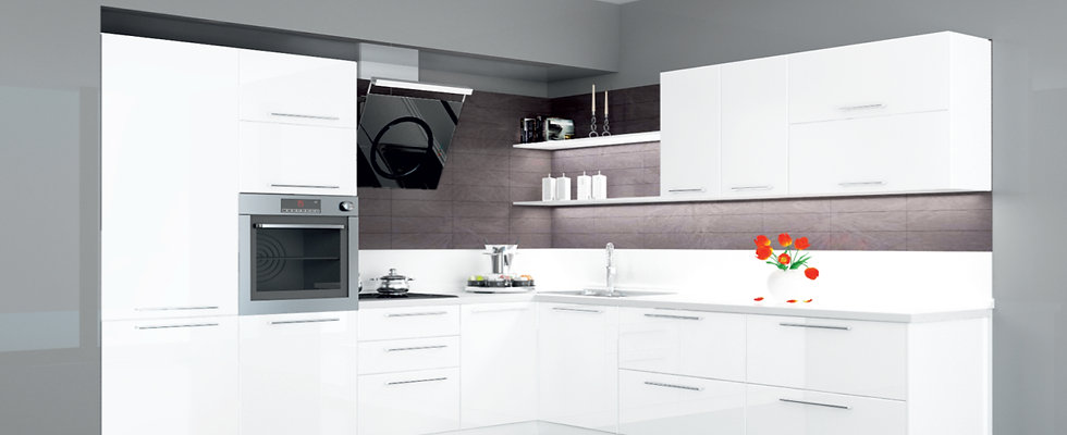 Küche Hochglanz weiß ohne Geräte