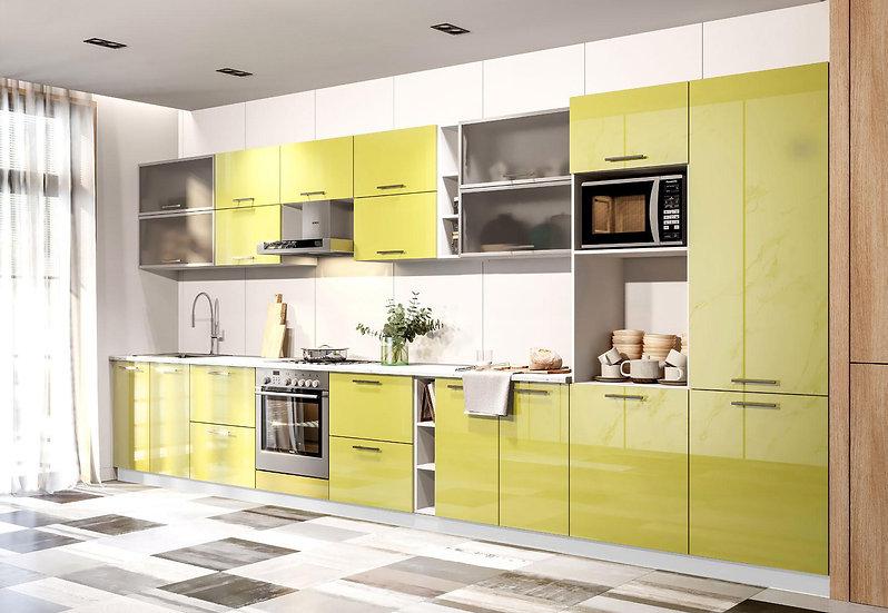 Küche Hochglanz grün ohne Geräte