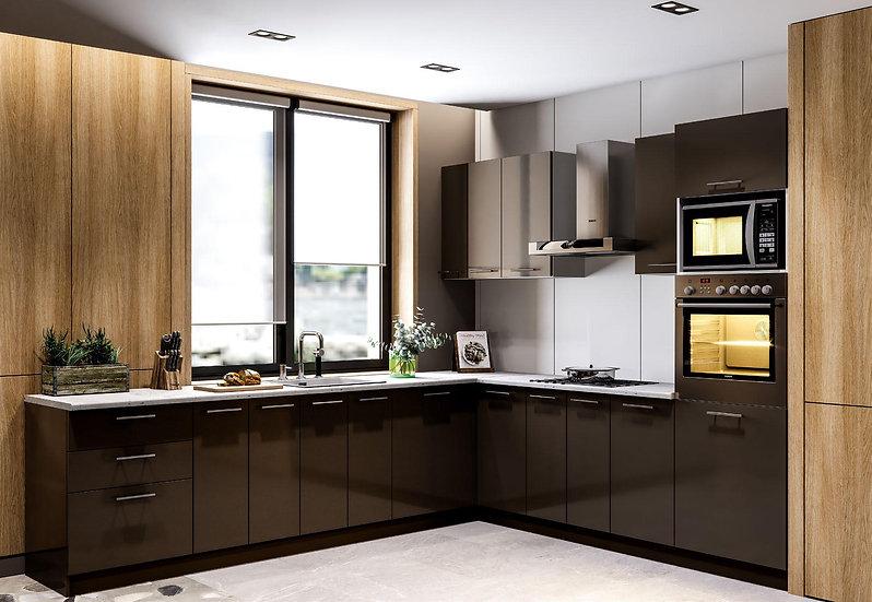 Küche Hochglanz schwarz ohne Geräte