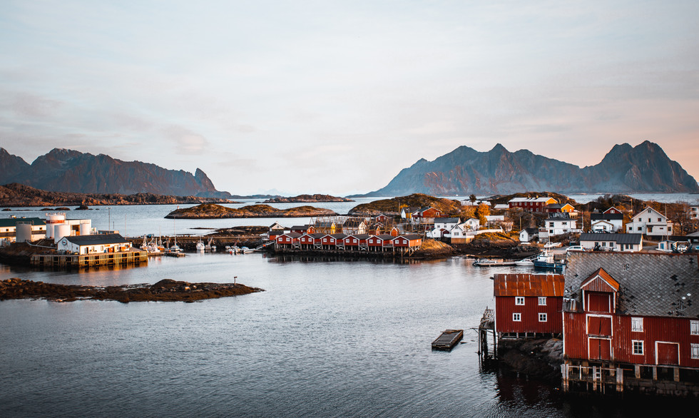 View over islands and fjords in Lofoten Islands.