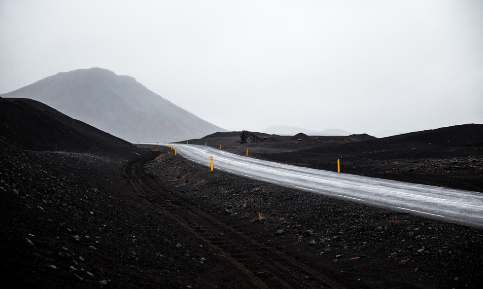 Lonely road in Iceland