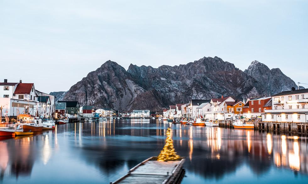 Henningsvaer, Norway before nightfall.