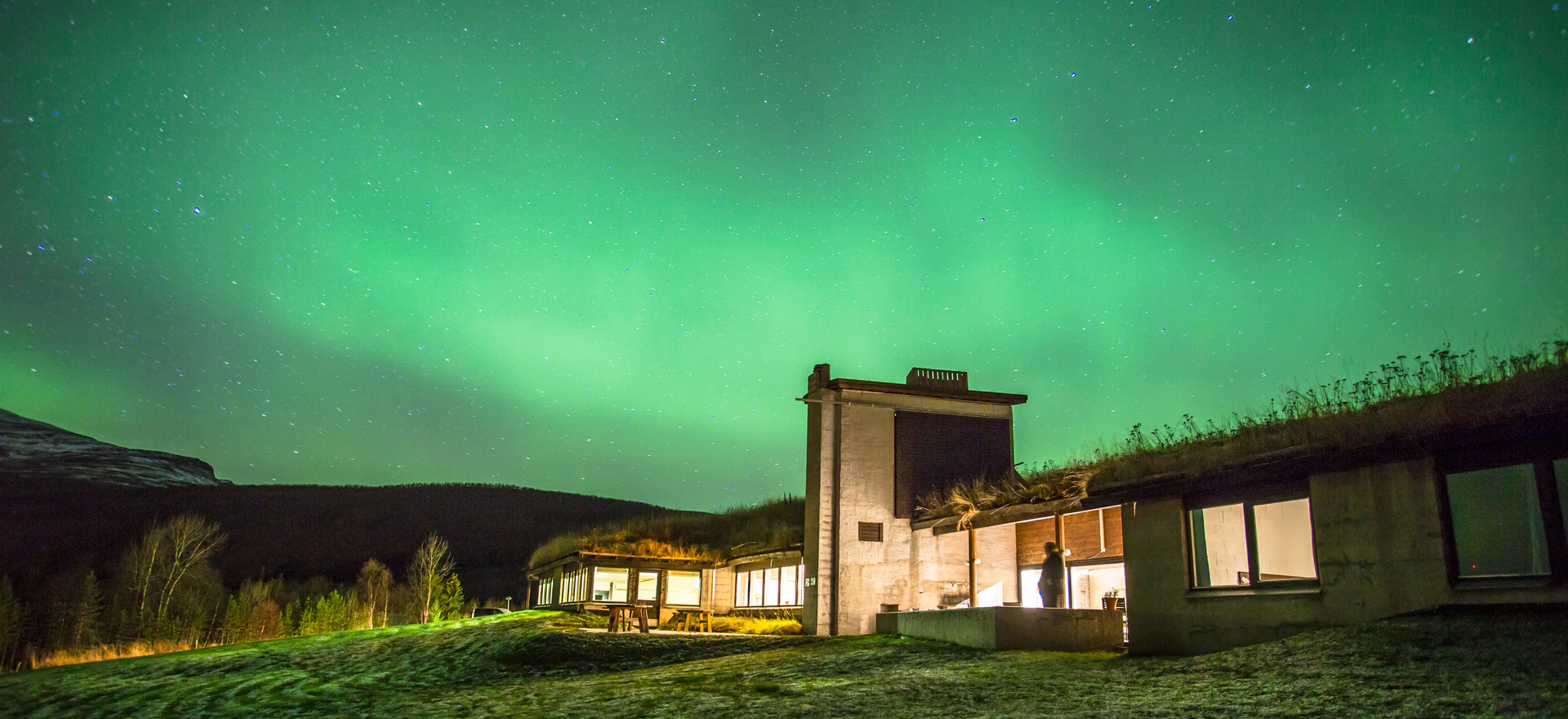 Northern Lights over hotel in Northern Norway.
