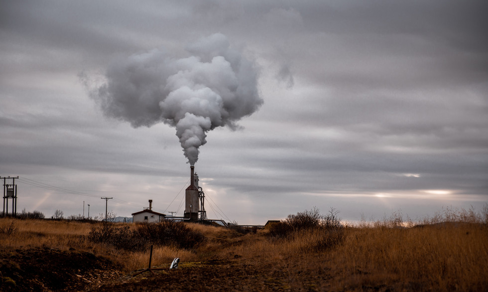Smoke stack billowing in Iceland.