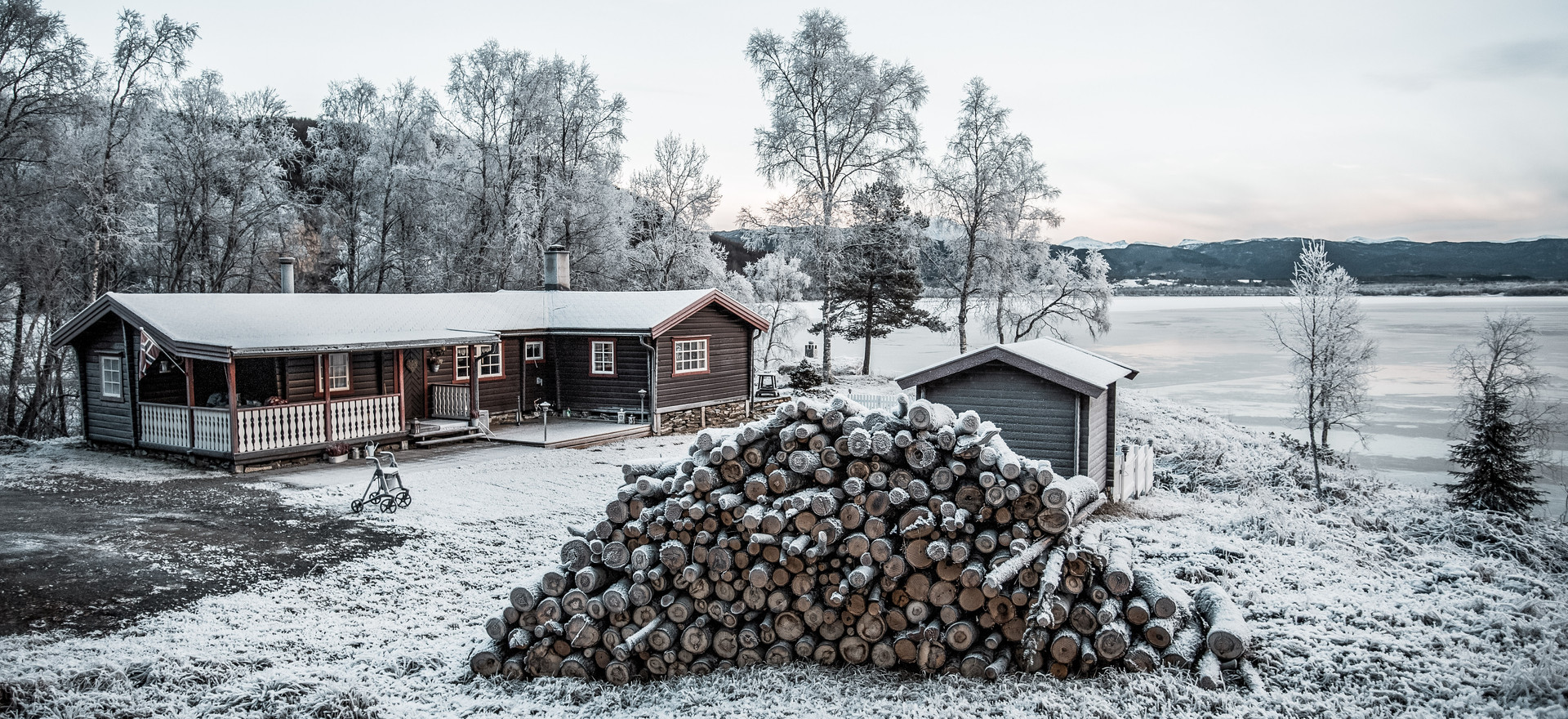 Snow covered house, empty in Northern Norway.