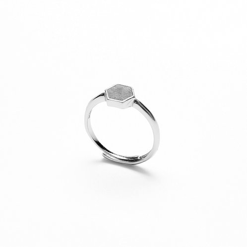 Grey Concrete Hexagon Ring (Silver/Rose Gold) | Geometric Series