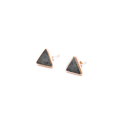 Black Concrete Triangle Earring (Silver/Rose Gold)   Geometric Series