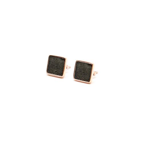 Black Concrete Square Earring (Silver/Rose Gold) | Geometric Series