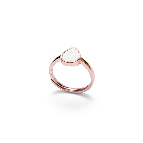 White Concrete Drop Ring (Rose Gold) | Geometric Series