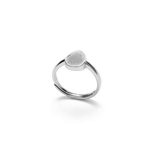 Grey Concrete Drop Ring (Silver/Rose Gold) | Geometric Series