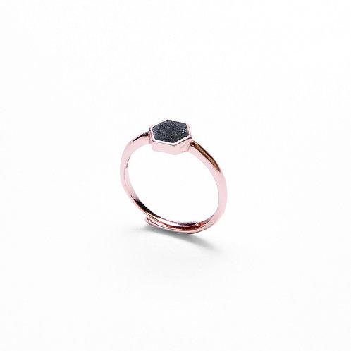 Black Concrete Hexagon Ring (Silver/Rose Gold) | Geometric Series