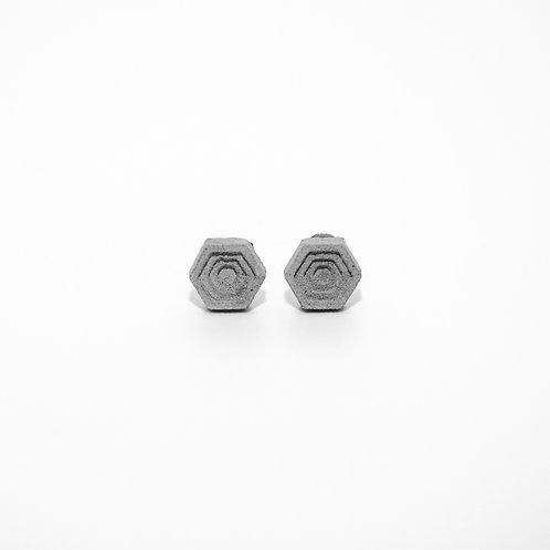 六角形水泥耳環 | 層次系列