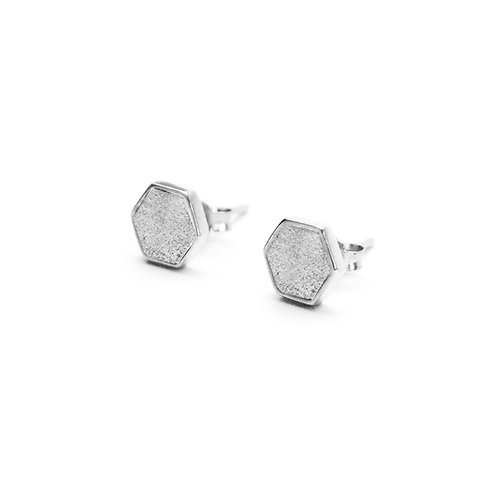 Grey Concrete Hexagon Earring (Silver / Rose Gold) | Geometric Series
