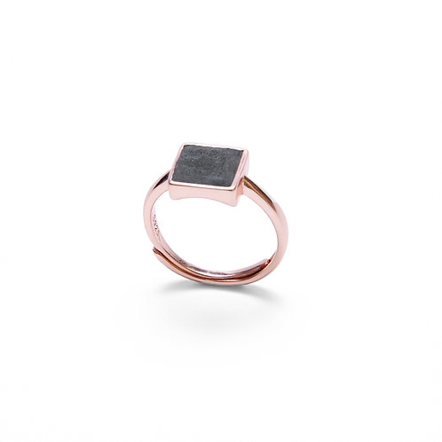 Black Concrete Square Ring (Silver/Rose Gold) | Geometric Series