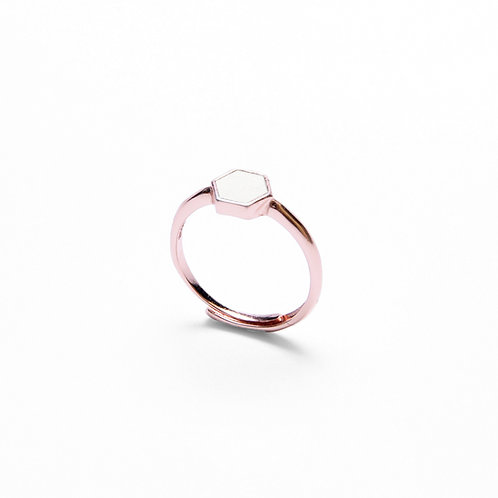 White Concrete Hexagon Ring (Rose Gold) | Geometric Series
