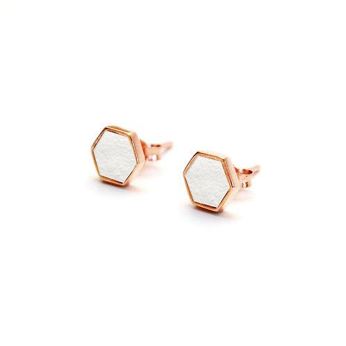 White Concrete Hexagon Earring (Rose Gold) | Geometric Series