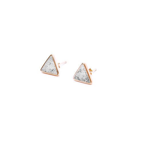 Grey Concrete Triangle Earring (Silver/Rose Gold) | Geometric Series