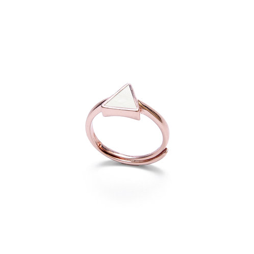 White Concrete Triangle Ring (Rose Gold) | Geometric Series