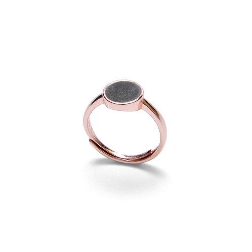 Black Concrete Circle Ring (Silver/Rose Gold) | Geometric Series