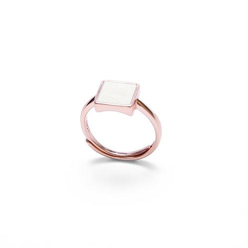 White Concrete Square Ring (Rose Gold) | Geometric Series