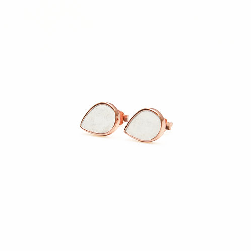 White Concrete Drop  Earring (Rose Gold) | Geometric Series