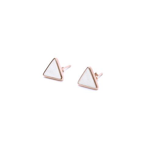 White Concrete Triangle Earring (Rose Gold) | Geometric Series