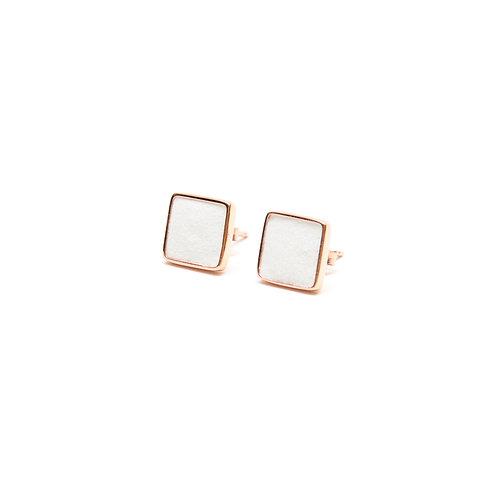White Concrete Square Earring (Rose Gold) | Geometric Series
