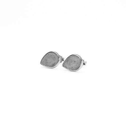 Grey Concrete Drop Earring (Silver/Rose Gold) | Geometric Series