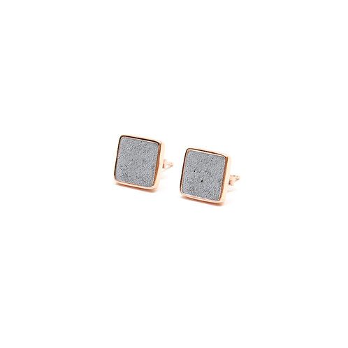 Grey Concrete Square Earring (Silver/Rose Gold) | Geometric Series