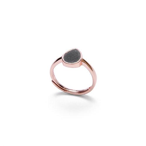 Black Concrete Drop Ring (Silver/Rose Gold) | Geometric Series