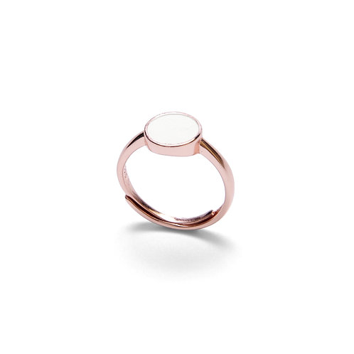 White Concrete Circle Ring (Rose Gold) | Geometric Series