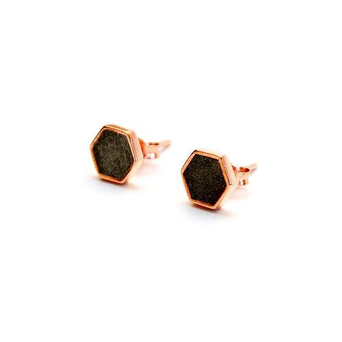 Black Concrete Hexagon Earring (Silver / Rose Gold) | Geometric Series