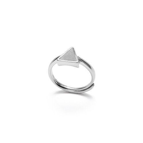 Grey Concrete Triangle Ring (Silver/Rose Gold) - Geometric Series
