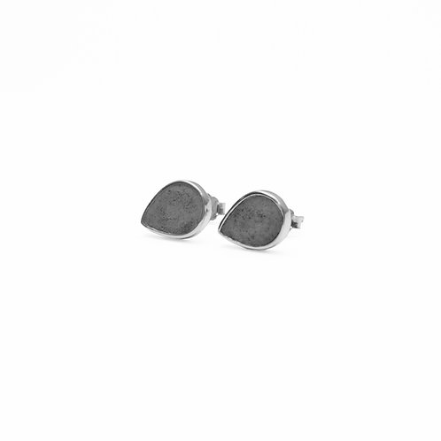 Black Concrete Drop Earring (Silver/Rose Gold) | Geometric Series