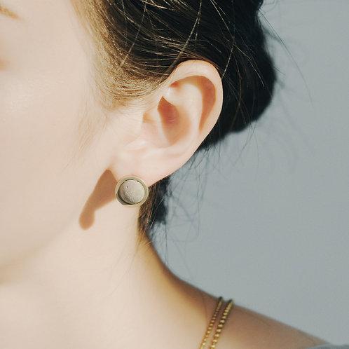 黃銅水泥貼耳針式耳環 C3CraftStudio x Agaric Garden 月球之旅