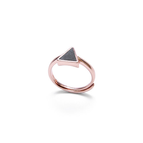Black Concrete Triangle Ring (Silver/Rose Gold) - Geometric Series