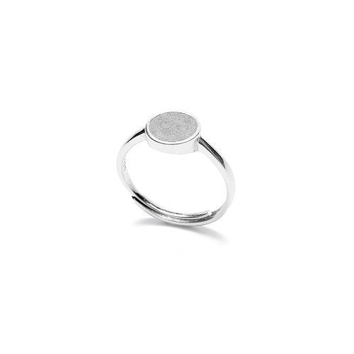 Grey Concrete Circle Ring (Silver/Rose Gold) | Geometric Series