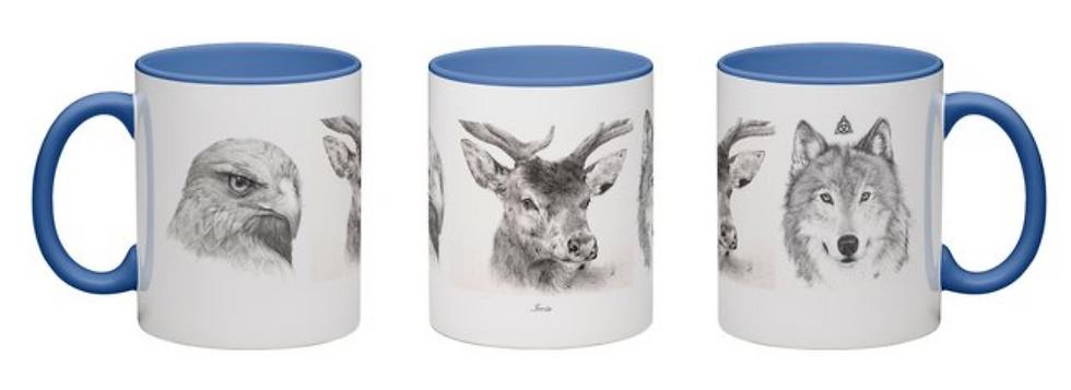 Mug (fond bleu) aigle-cerf-loup