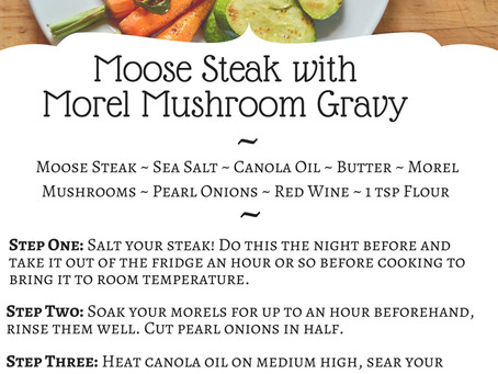 Moose Steak with Morel Gravy