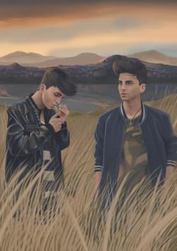 Escena Los gemelos en el pasto