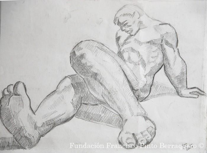 Boceto de escorzo masculino