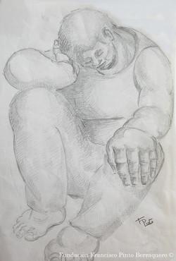 Boceto de hombre pensando.