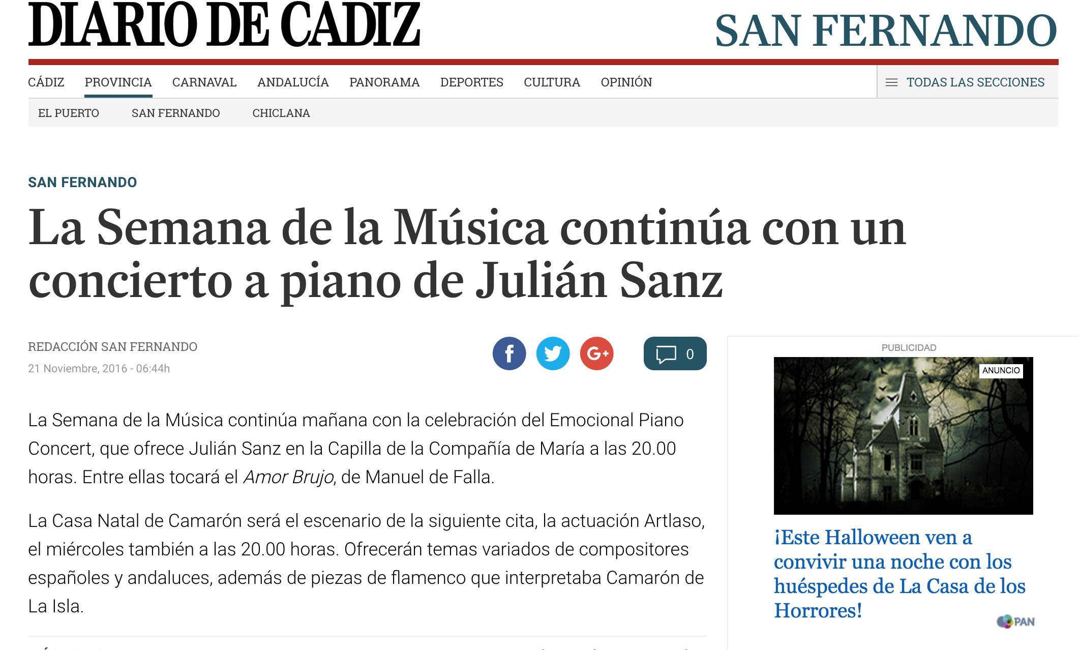 22 Noviembre Diario de Cádiz