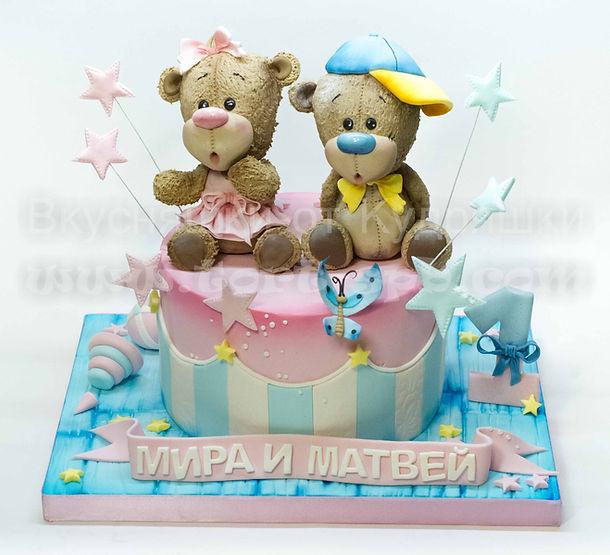 Торт для двойняшек с мишками