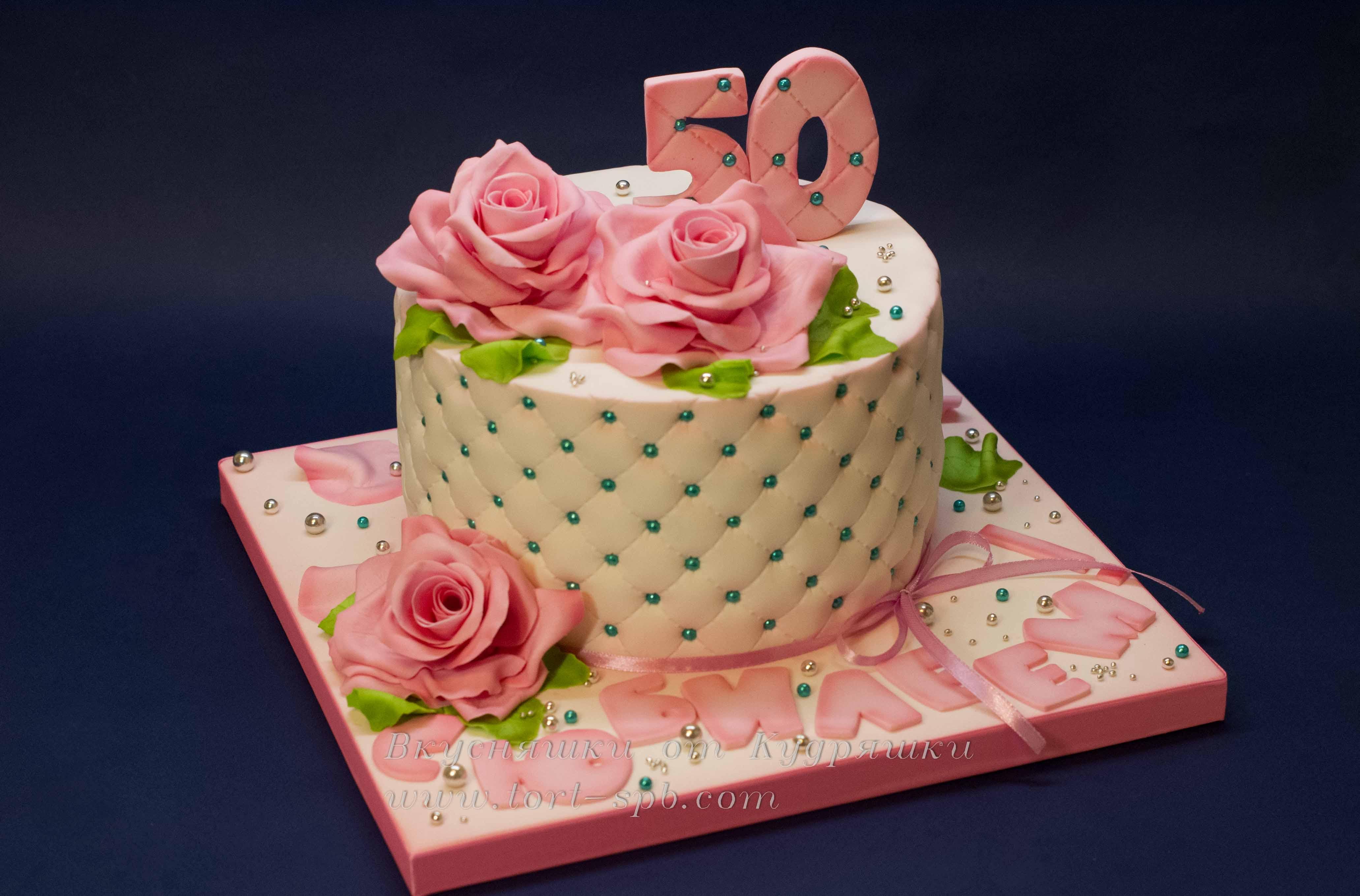 Торт с розами на юбилей