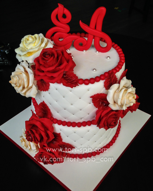 """Торт """"Свадебный с розами"""""""
