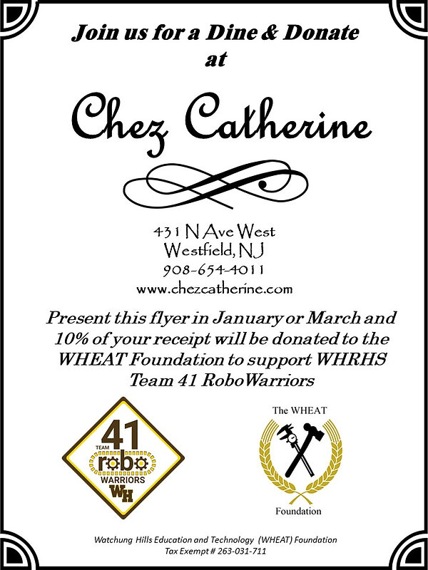 Chez Catherine Dine and Donate Flyer Fin
