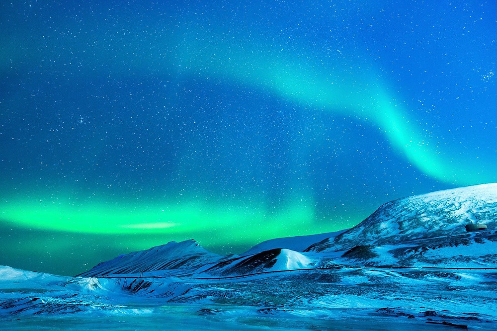 Northern lights, arctic landscape
